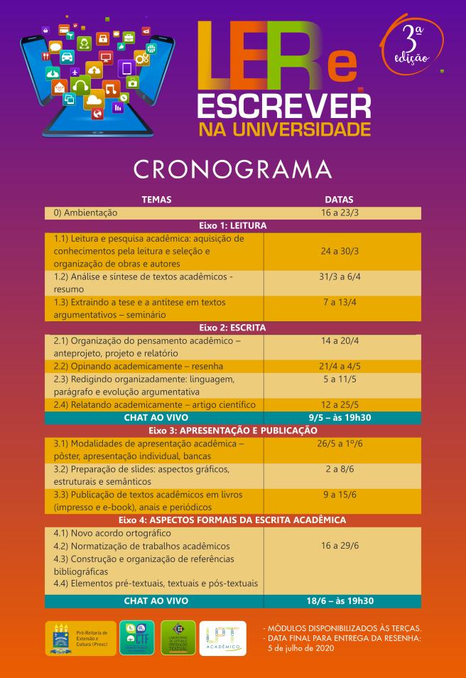3º edição - Cronograma